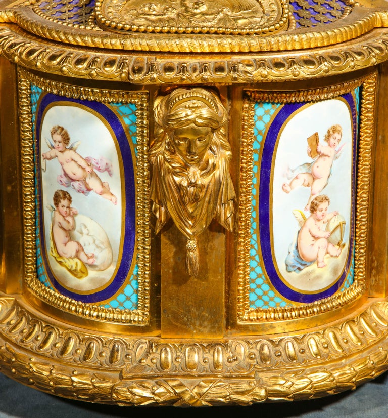 Rare Important French Ormolu Sevres Style Porcelain Jewelry Box on Bronze Table For Sale 3