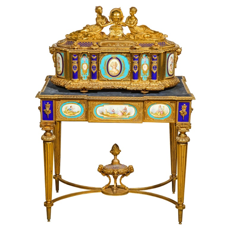 Rare Important French Ormolu Sevres Style Porcelain Jewelry Box on Bronze Table For Sale