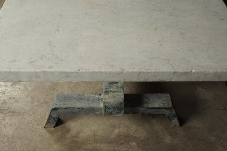 Rare Industrial Dining Table From France, 1940s In Good Condition For Sale In Nashville, TN