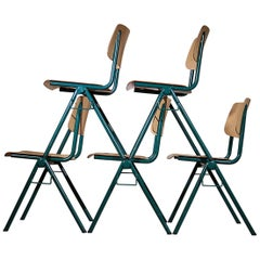 # 80 Rare Industrial Stacking chairs Galvanitas S35 Emerald Green