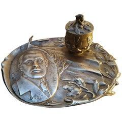 Rare Inkwell, Bronze Art Nouveau USA President Wilson 1st W War, Signed Cuzin