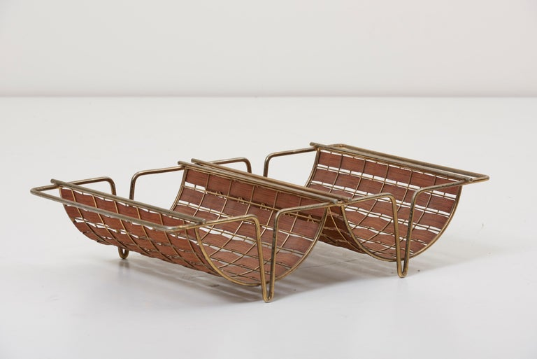 Rare Interlace Collection Pair by Tony Paul for Woodlin-Hall in Brass and Walnut For Sale 5