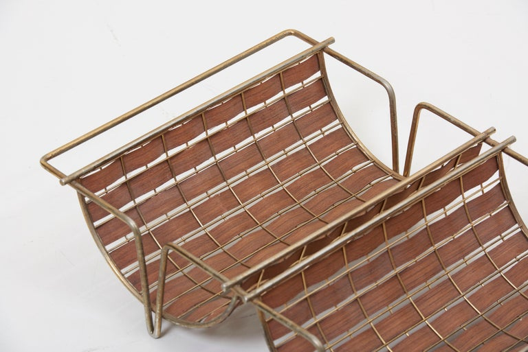 Rare Interlace Collection Pair by Tony Paul for Woodlin-Hall in Brass and Walnut For Sale 7