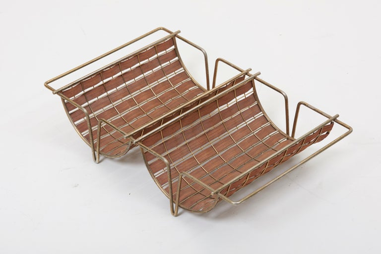 Rare Interlace Collection Pair by Tony Paul for Woodlin-Hall in Brass and Walnut For Sale 8