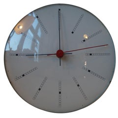 Rare Inventory Bankers Wall Clock by Arne Jacobsen for Gefa, 1971