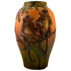 Rare Ipsen's, Denmark Art Nouveau Ceramic Vase, Monkeys in Relief, circa 1910