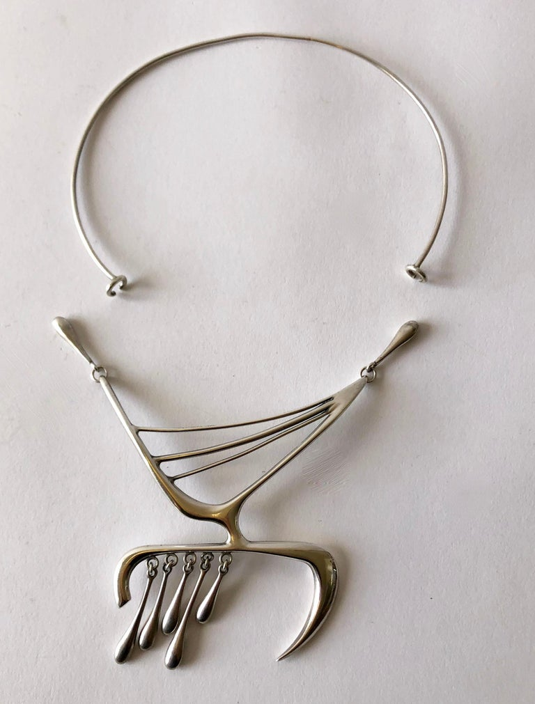 Rare Irvin and Bonnie Burkee Sterling Silver American Modernist Necklace For Sale 1
