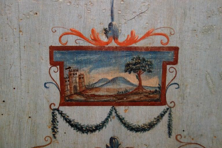Unique Italian 18th Century Hand Painted Louis XV Cassone Commode Marchigiano  For Sale 8