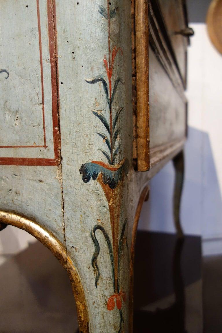 Unique Italian 18th Century Hand Painted Louis XV Cassone Commode Marchigiano  For Sale 9