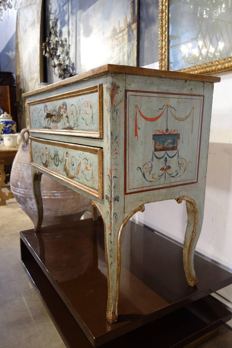 Important, unique Italian commode with incredibly fine painting. High level artistic commission, excellent original structure. From an antique point of view, Fine artistic skill exemplified particularly in the busts depicting the Labours of Hercules
