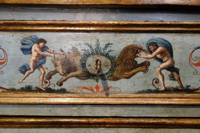 Unique Italian 18th Century Hand Painted Louis XV Cassone Commode Marchigiano  For Sale 2