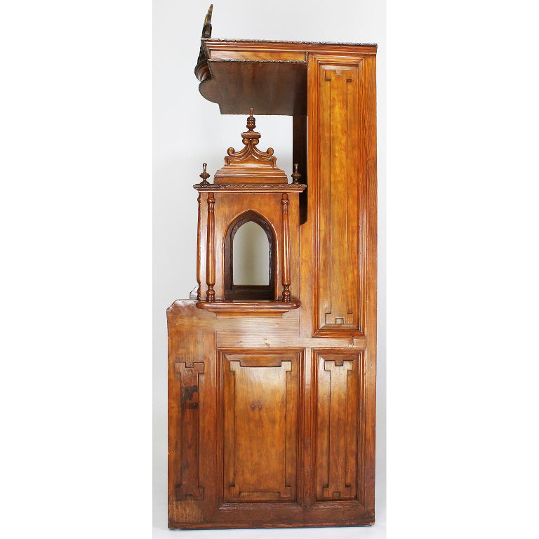 Rare Italian 19th Century Carved Pine Catholic Church Confessional Stall, Booth For Sale 6