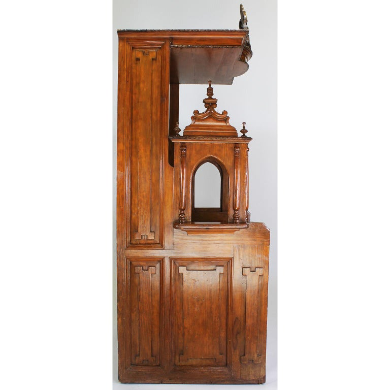 Rare Italian 19th Century Carved Pine Catholic Church Confessional Stall, Booth For Sale 7