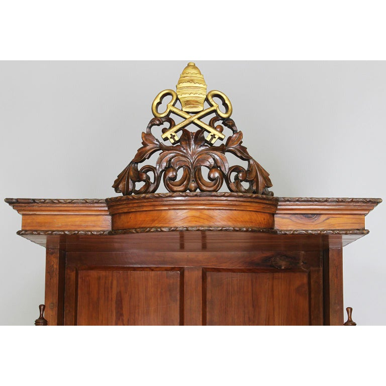 Baroque Revival Rare Italian 19th Century Carved Pine Catholic Church Confessional Stall, Booth For Sale