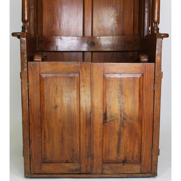 Rare Italian 19th Century Carved Pine Catholic Church Confessional Stall, Booth For Sale 1