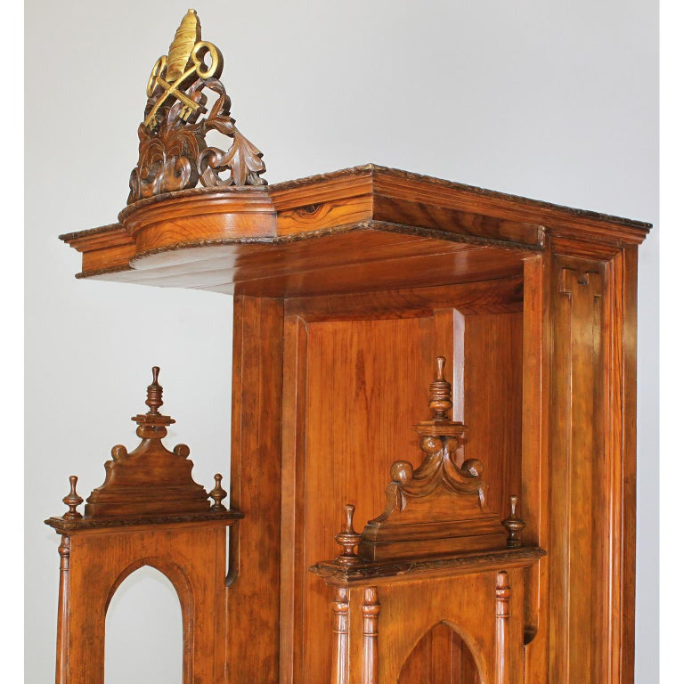 Rare Italian 19th Century Carved Pine Catholic Church Confessional Stall, Booth For Sale 3