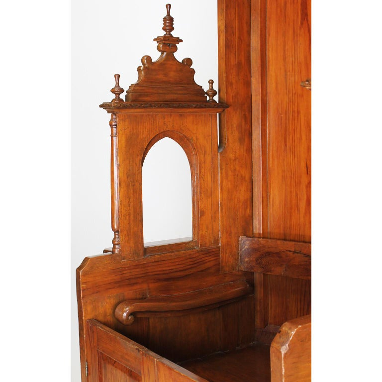 Rare Italian 19th Century Carved Pine Catholic Church Confessional Stall, Booth For Sale 4