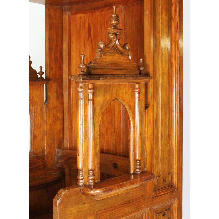 Rare Italian 19th Century Carved Pine Catholic Church Confessional Stall, Booth For Sale 5