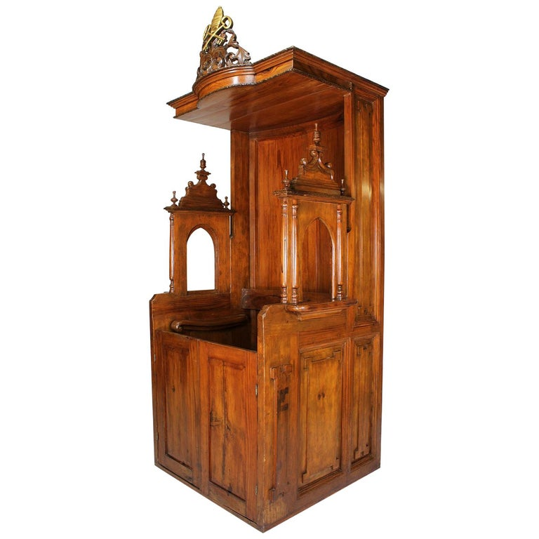 Rare Italian 19th Century Carved Pine Catholic Church Confessional Stall, Booth For Sale