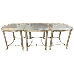 Rare Italian 3-Piece Silver Giltwood Coffee Table with Mirrored Top