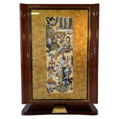 Rare Italian Art Deco Bar Cabinet by Vittorio Dassi , 1950s