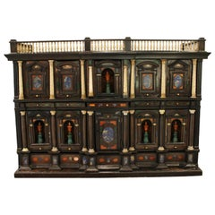 Rare Italian Baroque Lapis and Hardstone Inlaid Bone Mounted Rosewood Cabinet