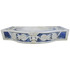Rare Italian Blue and White Carrera Marble Sink