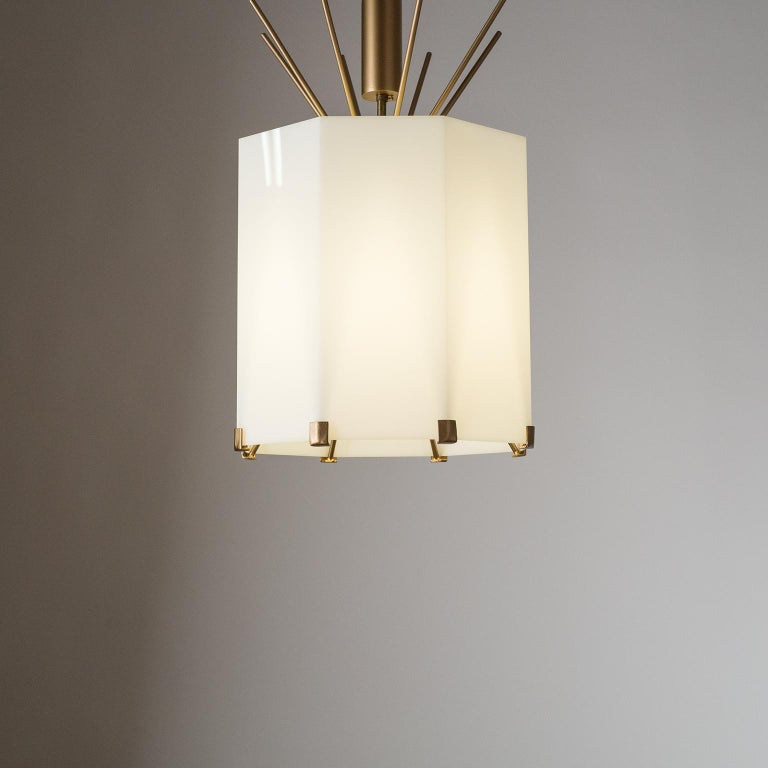 Rare Italian Ceiling Lights, 1950s, Brass and Acrylic For Sale 5