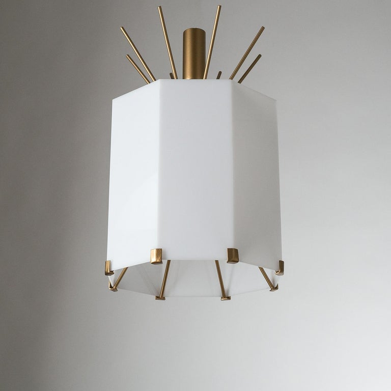 Rare Italian Ceiling Lights, 1950s, Brass and Acrylic For Sale 9