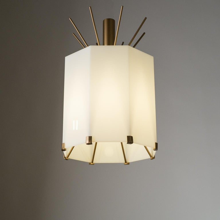 Rare Italian Ceiling Lights, 1950s, Brass and Acrylic For Sale 10