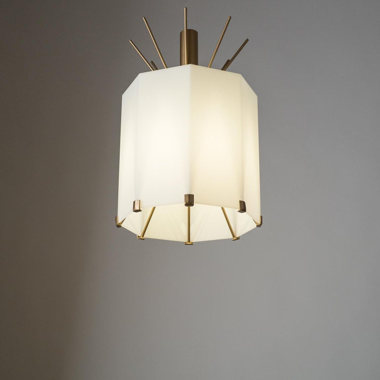 Rare Italian Ceiling Lights, 1950s, Brass and Acrylic For Sale 11