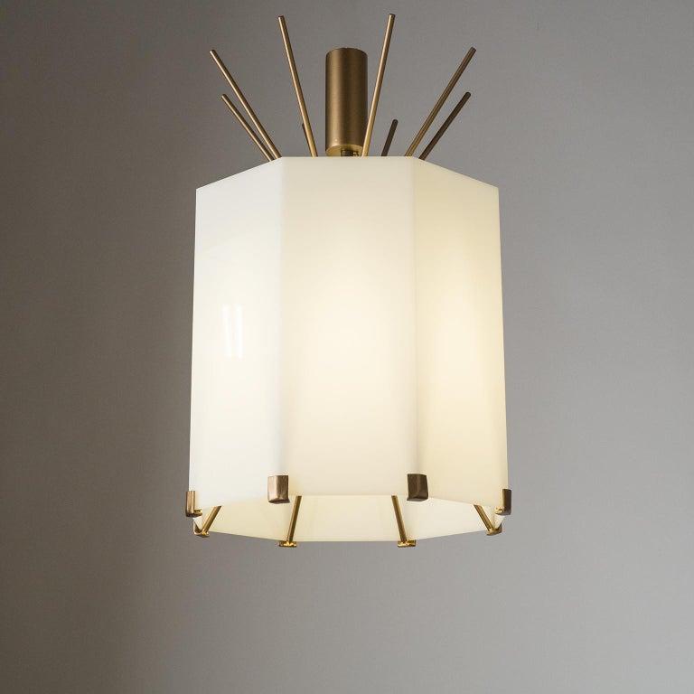 Mid-Century Modern Rare Italian Ceiling Lights, 1950s, Brass and Acrylic For Sale
