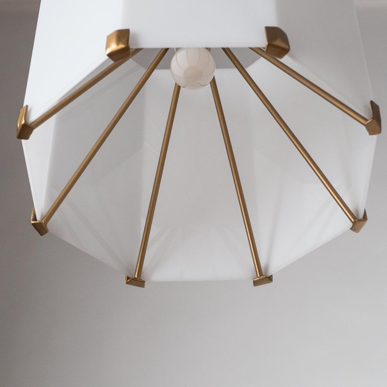 Mid-20th Century Rare Italian Ceiling Lights, 1950s, Brass and Acrylic For Sale