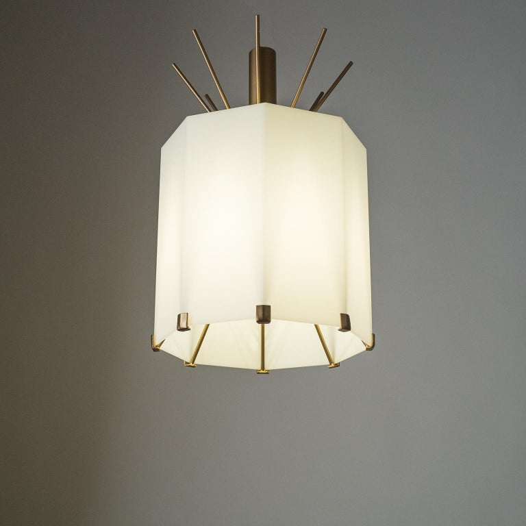 Rare Italian Ceiling Lights, 1950s, Brass and Acrylic For Sale 4