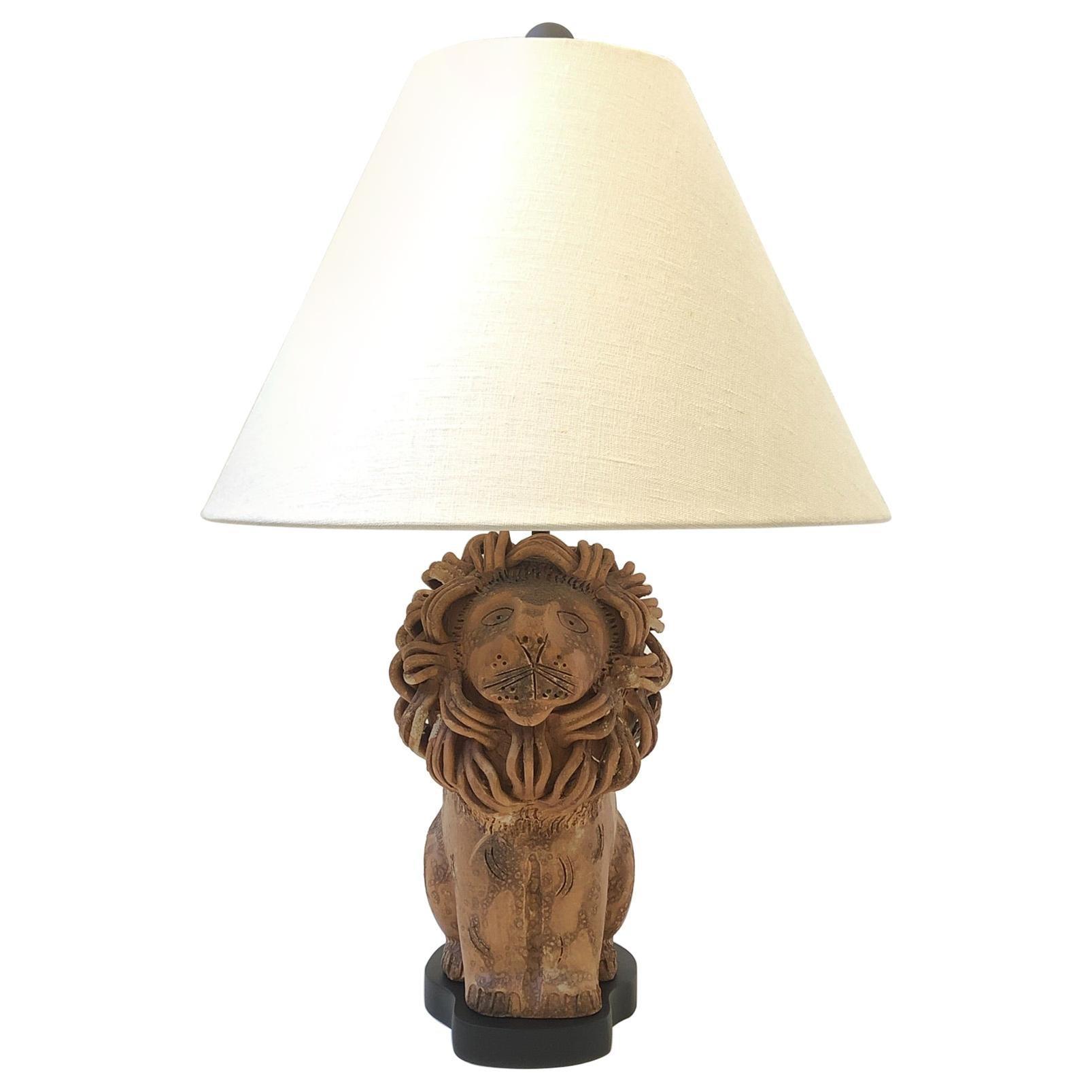 Rare Italian Ceramic Lion Table Lamp by Aldo Londi for Bitossi
