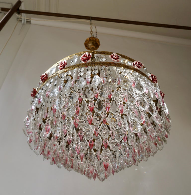 Rare Italian Chandelier with Pink Crystals and Pink Roses For Sale 4