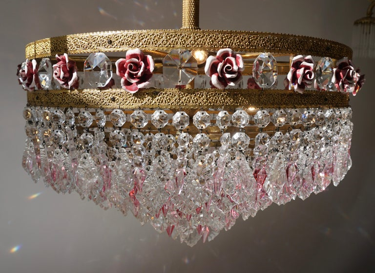 Rare Italian Chandelier with Pink Crystals and Pink Roses For Sale 6