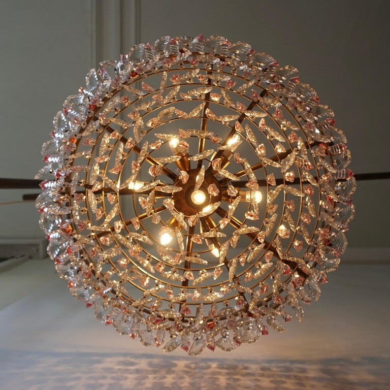 Rare Italian Chandelier with Pink Crystals and Pink Roses For Sale 7