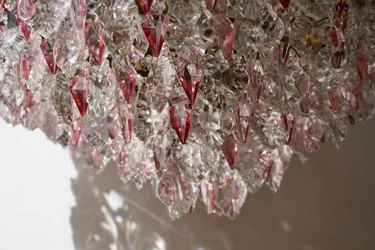 Rare Italian Chandelier with Pink Crystals and Pink Roses For Sale 9