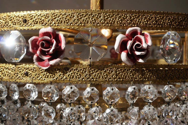 Rare Italian Chandelier with Pink Crystals and Pink Roses For Sale 10