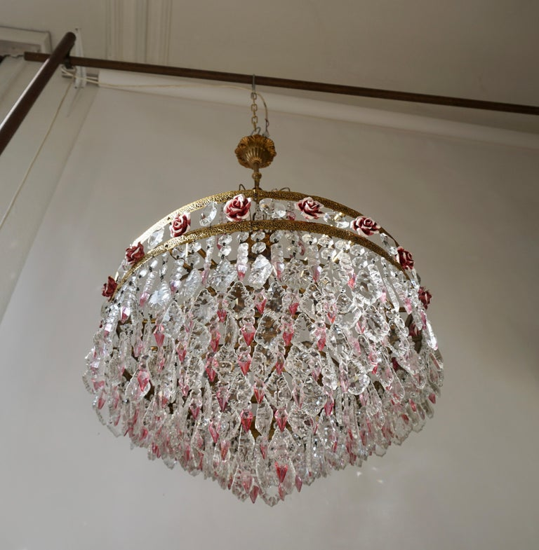 Hollywood Regency Rare Italian Chandelier with Pink Crystals and Pink Roses For Sale