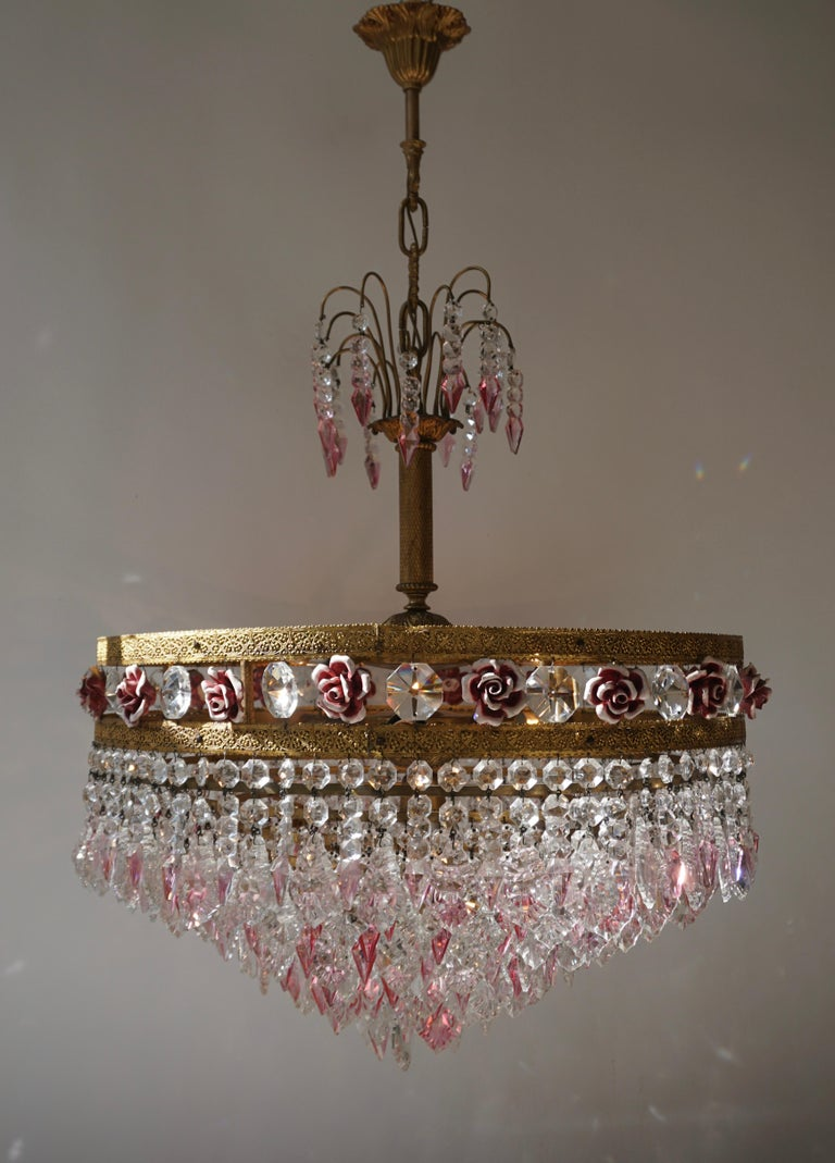 20th Century Rare Italian Chandelier with Pink Crystals and Pink Roses For Sale
