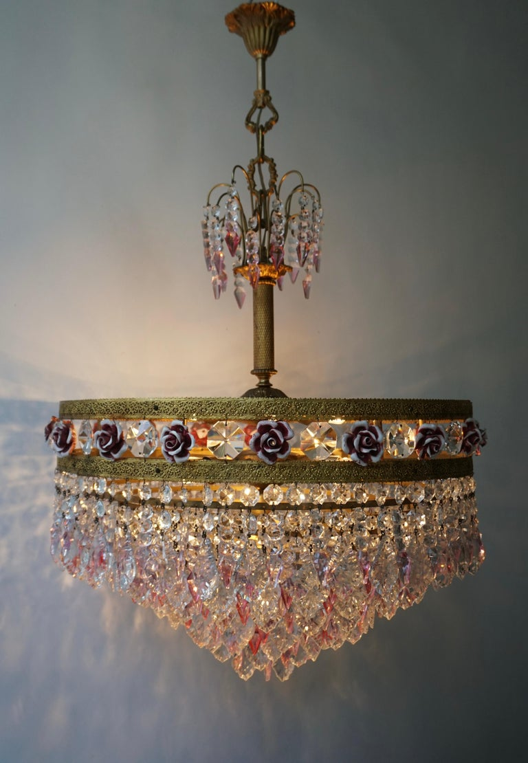 Porcelain Rare Italian Chandelier with Pink Crystals and Pink Roses For Sale