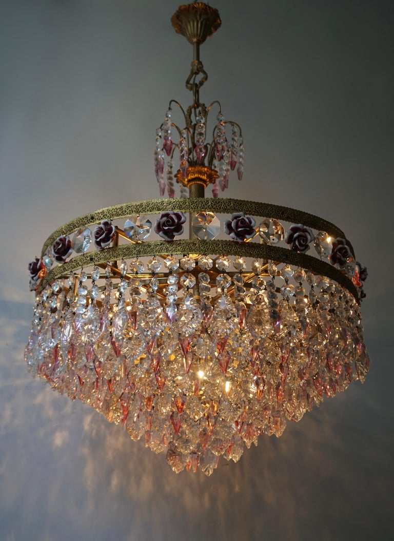 Rare Italian Chandelier with Pink Crystals and Pink Roses For Sale 2