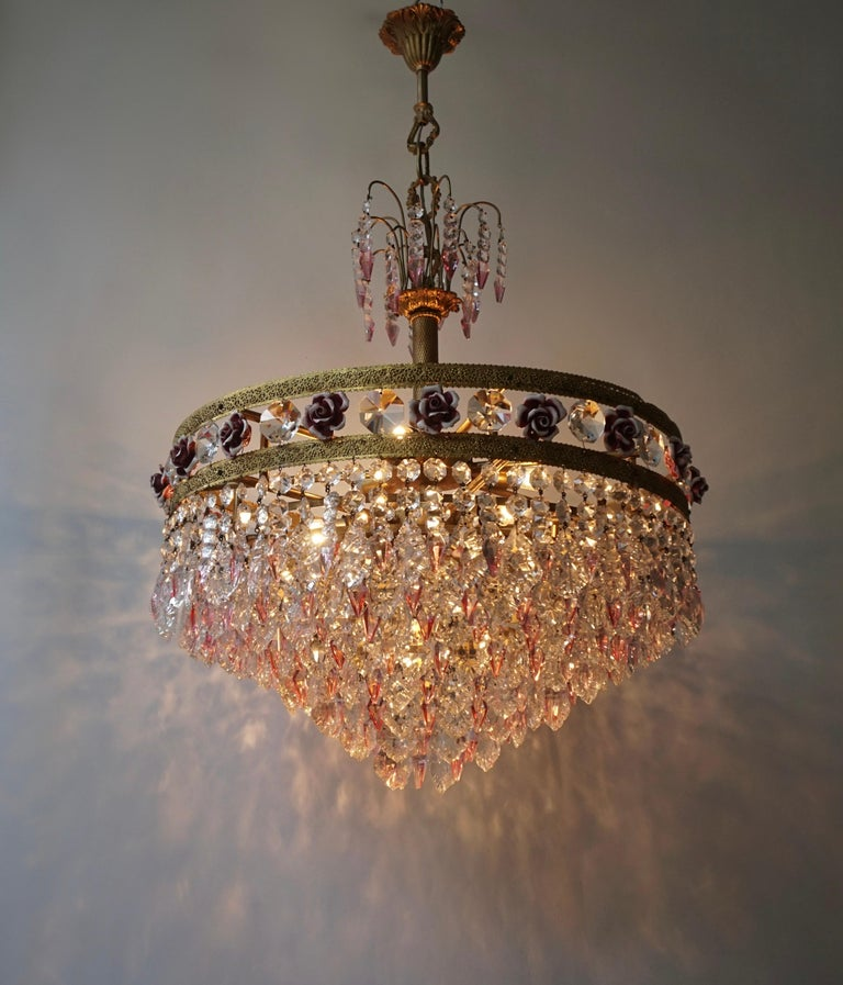 Rare Italian Chandelier with Pink Crystals and Pink Roses For Sale 3