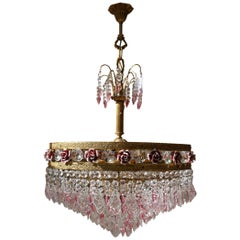 Rare Italian Chandelier with Pink Crystals and Pink Roses