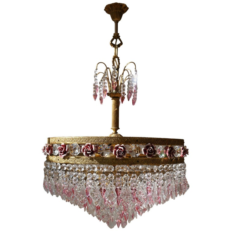 Rare Italian Chandelier with Pink Crystals and Pink Roses For Sale
