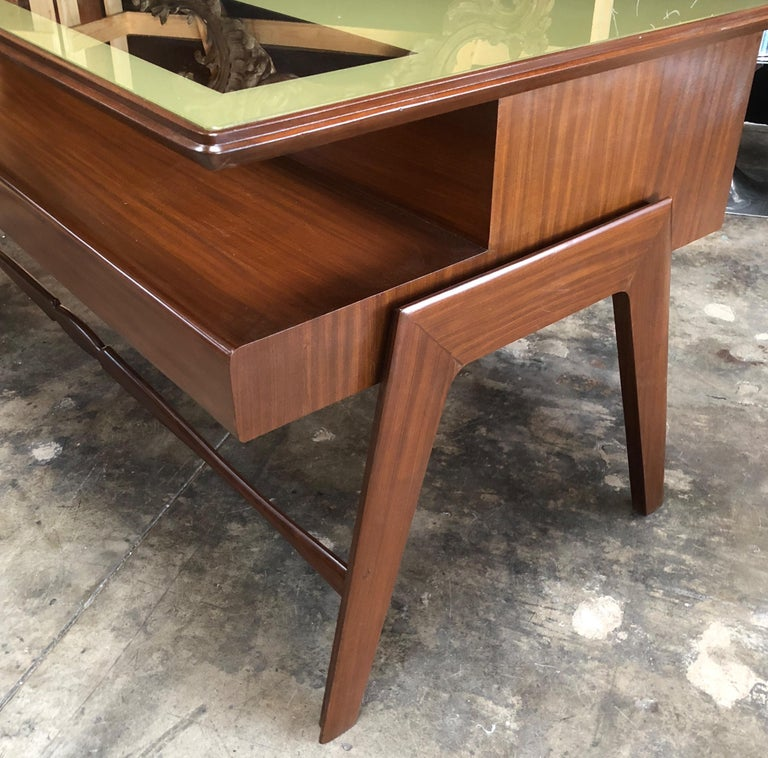 Mid-Century Modern Rare Italian Executive Desk with Floating Glass Top by Vittorio Dassi, 1950s For Sale