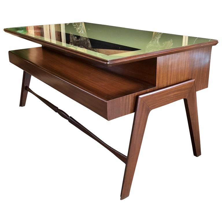 Rare Italian Executive Desk with Floating Glass Top by Vittorio Dassi, 1950s For Sale