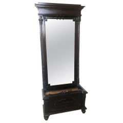 Rare Italian Furniture from 1880, Ebonized, with Original Mirror and Carvings